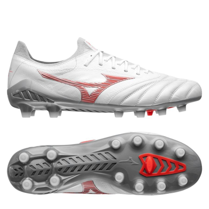 Mizuno Morelia Neo III Made in Japan FG Robotic - White/Fiery Coral